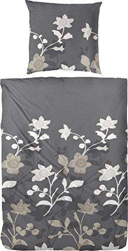Hübsche Bettwäsche aus Flanell - grau 135x200 von Hahn
