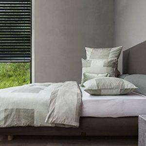 Schöne Bettwäsche aus Mako-Satin - grün 155x220 von HnL Living