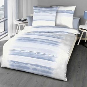 Kuschelige Bettwäsche aus Seersucker - blau 135x200 von Kaeppel