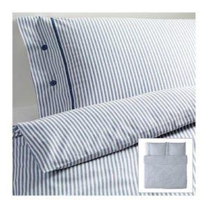 Blaue Streifen-Bettwäsche aus Baumwolle in 220x240 von Ikea