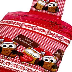 Schöne Bettwäsche aus Fleece - Weihnachten rot 135x200 von Bertels Textilhandels GmbH