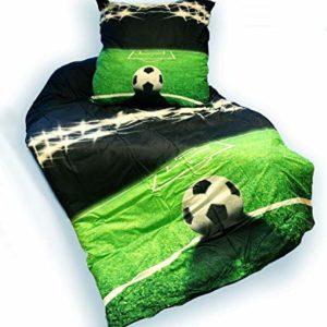 Hübsche Bettwäsche aus Jersey - Fußball grün 135x200 von Pöller