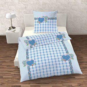 Hübsche Bettwäsche aus Renforcé - blau 135x200 von IDO
