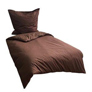 Kuschelige Bettwäsche aus Renforcé - braun 135x200 von Leonado Vicenti