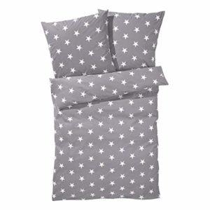 Schöne Bettwäsche aus Renforcé - Sterne grau 155x220 von PureDay