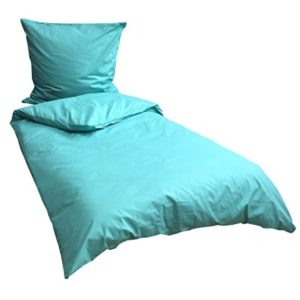 Kuschelige Bettwäsche aus Renforcé - türkis 135x200 von Leonado Vicenti