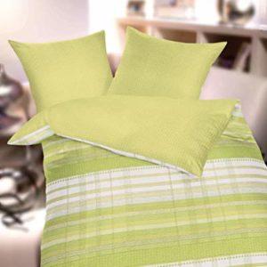 Kuschelige Bettwäsche aus Seersucker - grün 155x220 von Kaeppel