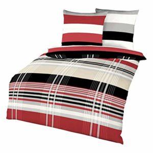 Schicke Streifen-Bettwäsche aus Biber - 135x200 von Kaeppel