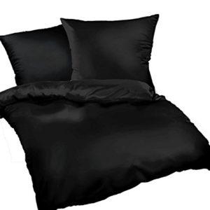 Hübsche Bettwäsche aus Flanell - schwarz 135x200 von Bettwaren-XXL