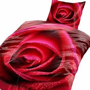 Traumhafte Bettwäsche aus Fleece - Rosen rot 135x200 von Bertels