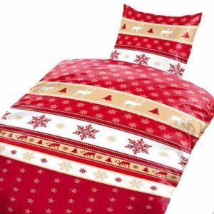 Traumhafte Bettwäsche aus Fleece - Weihnachten weiß 135x200 von Bertels