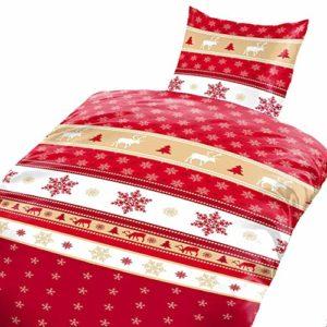 Schöne Bettwäsche aus Fleece - Weihnachten weiß 135x200 von Bertels