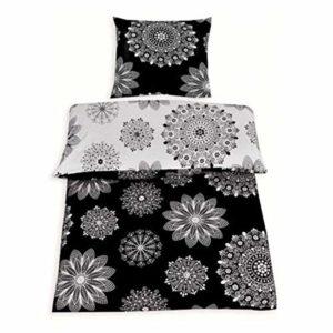 Hübsche Bettwäsche aus Renforcé - schwarz weiß 135x200 von Protex
