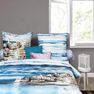 Traumhafte Bettwäsche aus Satin - blau 155x220 von HNL