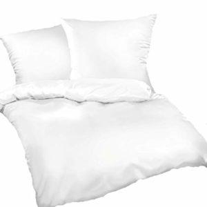 Hübsche Bettwäsche aus Satin - weiß 155x220 von Bettwaren-XXL