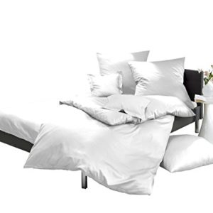 Schöne Bettwäsche aus Satin - weiß 200x200 von Lorena Textil