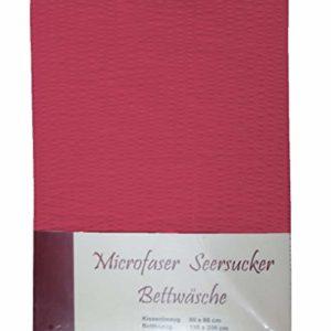 Schöne Bettwäsche aus Seersucker - rot 135x200 von n.g.