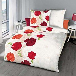 Kuschelige Bettwäsche aus Seersucker - rot 155x220 von Kaeppel