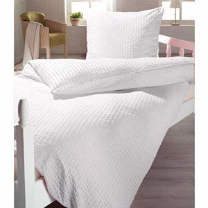 Kuschelige Bettwäsche aus Seersucker - weiß 135x200 von 4 Trendy Living
