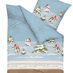 Kuschelige Bettwäsche aus Biber - blau 155x220 von Kaeppel