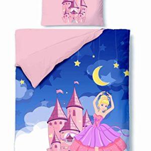 Traumhafte Bettwäsche aus Biber - Prinzessin rosa 100x135 von Aminata Kids - Ihr Bettwäsche Spezialist