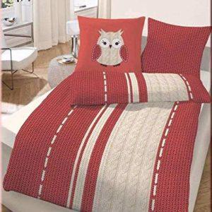 Schöne Bettwäsche aus Biber - rot 155x220 von Ido