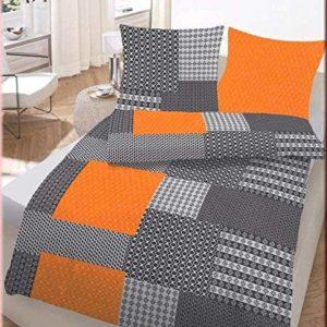 Hübsche Bettwäsche aus Biber - schwarz 155x220 von