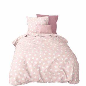 Hübsche Bettwäsche aus Biber - Sterne rosa 135x200 von Aminata Kids