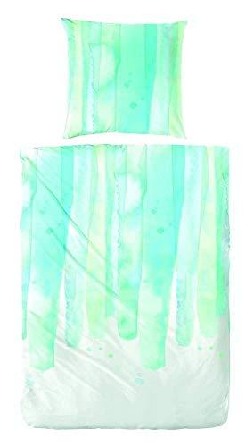 Hübsche Bettwäsche aus Perkal - blau 155x220 von Hahn