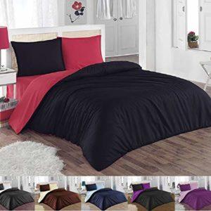 Schöne Bettwäsche aus Renforcé - schwarz 155x200 von GH Homeshop