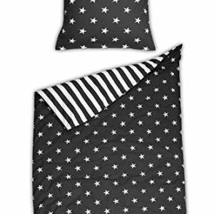 Kuschelige Bettwäsche aus Renforcé - Sterne schwarz 155x220 von Schiesser