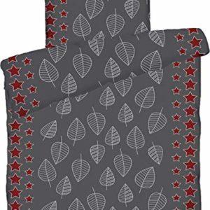 Hübsche Bettwäsche aus Biber - Sterne grau 135x200 von KH-Haushaltshandel