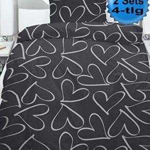 Traumhafte Bettwäsche aus Fleece - schwarz 135x200 von KH-Haushaltshandel