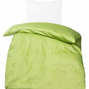 Traumhafte Bettwäsche aus Satin - grün 135x200 von Moon