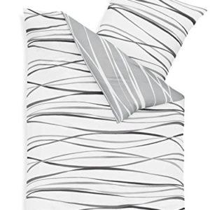 Hübsche Bettwäsche aus Biber - grau 155x220 von Kaeppel