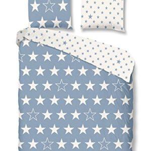 Hübsche Bettwäsche aus Flanell - Sterne blau 135x200 von Good Morning!