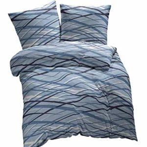 Kuschelige Bettwäsche aus Biber - blau 135x200 von Etérea