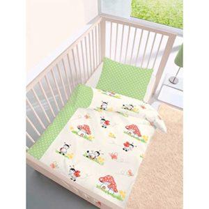 Hübsche Bettwäsche aus Biber - grün 100x135 von Träumschön