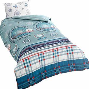 Hübsche Bettwäsche aus Renforcé - Rosen blau 135x200 von KESTEX