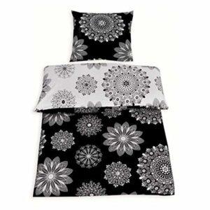 Hübsche Bettwäsche aus Renforcé - schwarz weiß 155x220 von Protex
