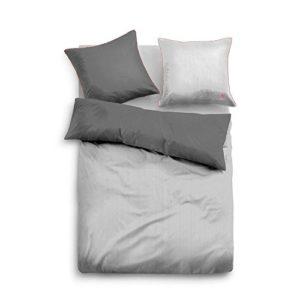 Schöne Bettwäsche aus Satin - grau 155x200 von TOM TAILOR