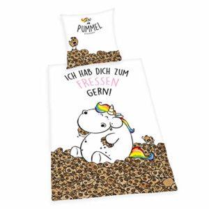 Traumhafte Bettwäsche aus Baumwolle - Einhorn weiß 135x200 von Herding