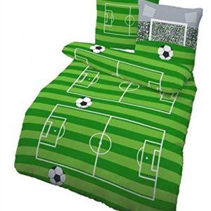 Schöne Bettwäsche aus Biber - Fußball grün 135x200 von Ido