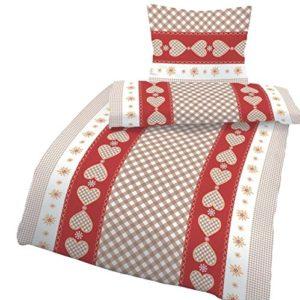 Schöne Bettwäsche aus Biber - rot 135x200 von Ido
