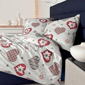 Schöne Bettwäsche aus Biber - rot 155x220 von Janine