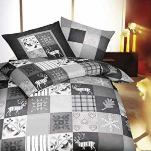 Schöne Bettwäsche aus Biber - grau 135x200 von Kaeppel