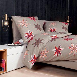 Kuschelige Bettwäsche aus Biber - rot 135x200 von Janine
