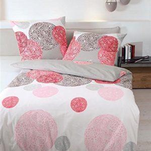 Hübsche Bettwäsche aus Biber - rot 135x200 von Janine