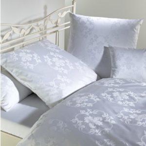 Kuschelige Bettwäsche aus Damast - weiß 155x200 von Curt Bauer