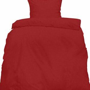 Traumhafte Bettwäsche aus Seersucker - rot 155x220 von KH-Haushaltshandel